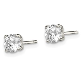 Sterling Silver 5mm Round Basket Set CZ Stud Earrings