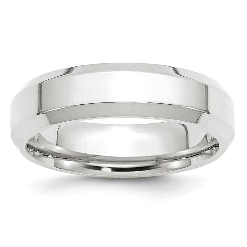 Fine Jewelry by JBD 14KW 6mm Bevel Edge Comfort Fit Band Size 10