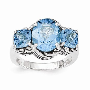 Sterling Silver Light Blue Swiss Topaz Ring