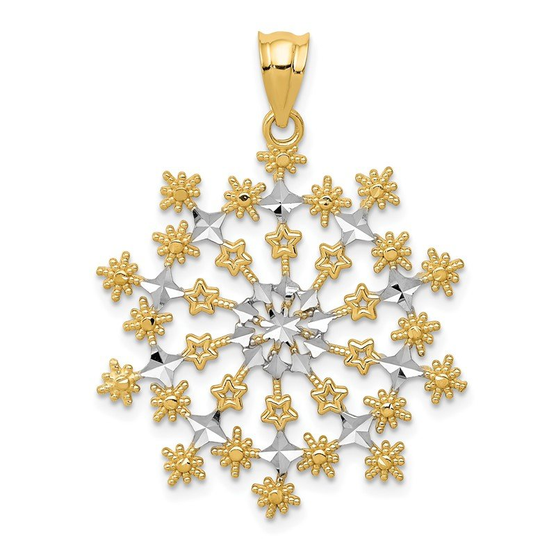 Quality Gold 14k & Rhodium Diamond-cut Starburst Snowflake Pendant