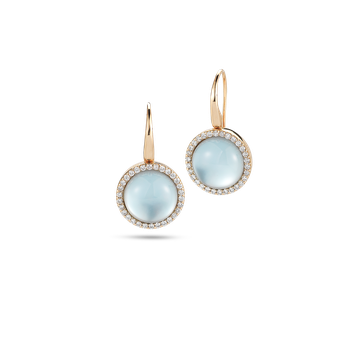 Earrings with Diamonds, Topaz and Mother of Pearl