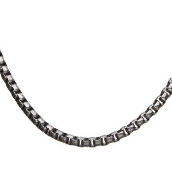 Stainless Steel 6.5mm Hammered Bold Box Chain with Lobster Clasp
