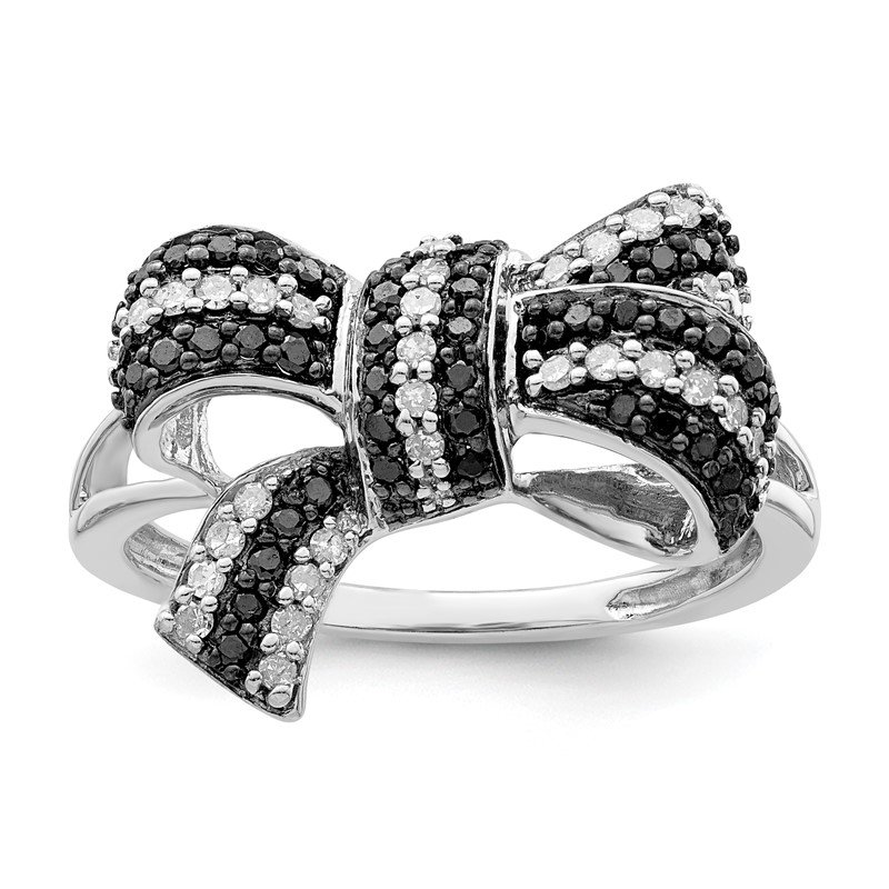 Quality Gold Sterling Silver Rhod Plated Black and White Diamond Bow Ring