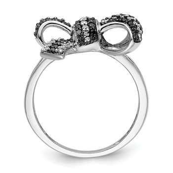 Sterling Silver Rhod Plated Black and White Diamond Bow Ring