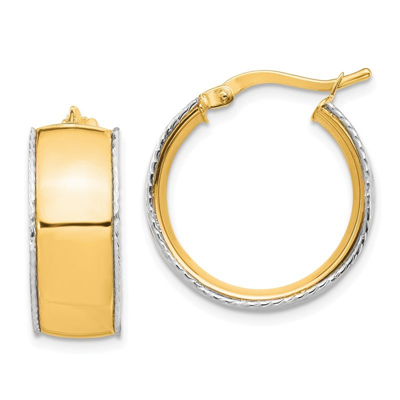 Quality Gold 14K Yellow & White Gold 8x19mm D/C Edge Hoop Earrings