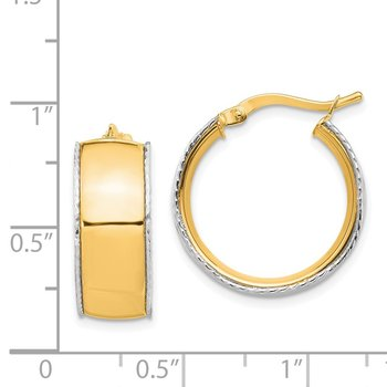 14K Yellow & White Gold 8x19mm D/C Edge Hoop Earrings