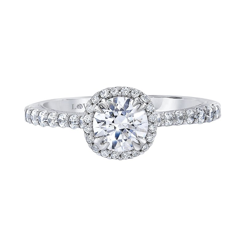 Halo Semi-mount Engagement Ring by Love Story
