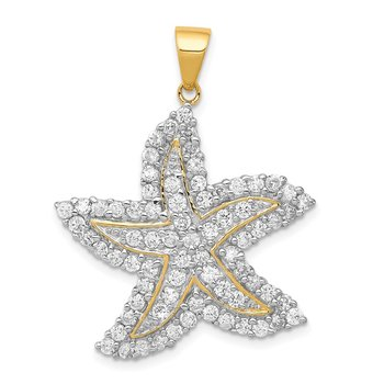 Sterling Silver Flash Gold-Plated and CZ Starfish Pendant