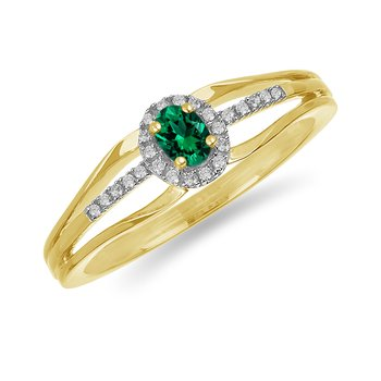 10K YG and diamond and Emerald halo style birthstone ring
