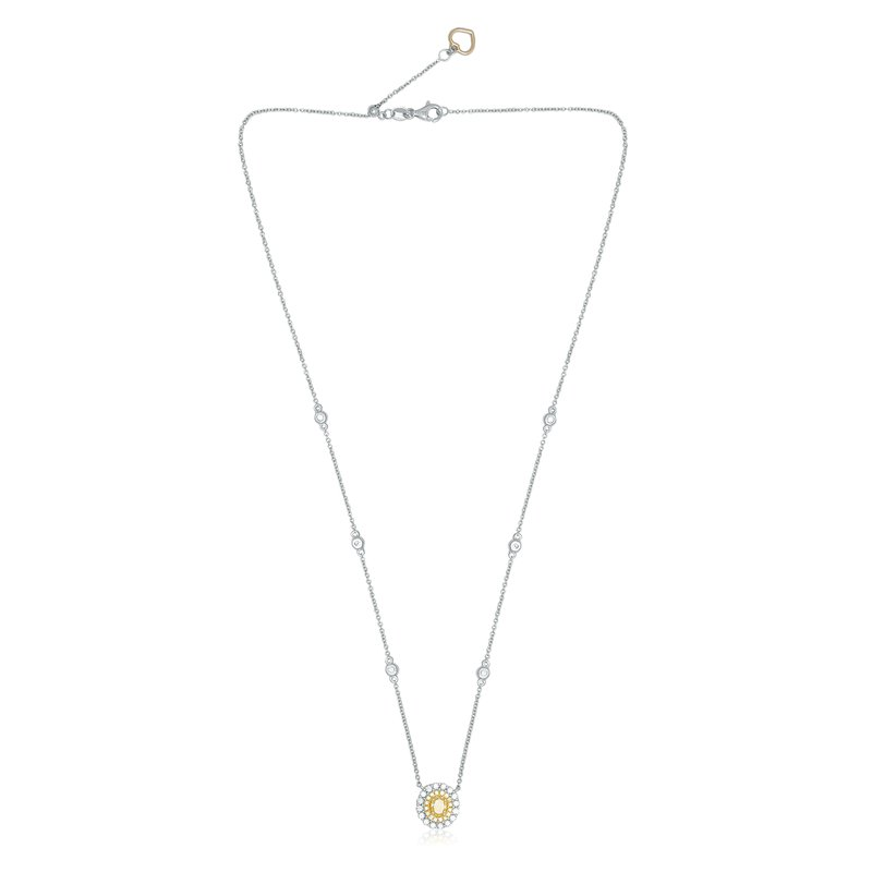 Roman & Jules Double Halo Oval Cut Diamond Necklace