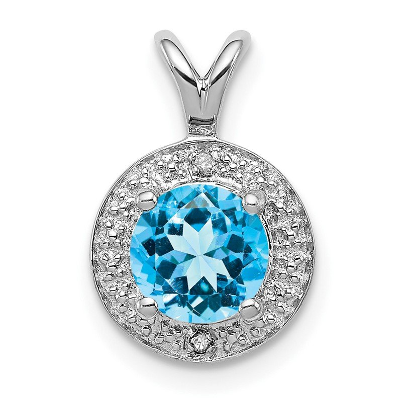 Quality Gold Sterling Silver Rhodium-plated Diam. & Blue Topaz Pendant