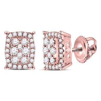 14kt Rose Gold Womens Round Diamond Vertical Rectangle Cluster Earrings 1/4 Cttw