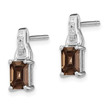 Sterling Silver Rhodium-plated Diamond & Smoky Quartz Earrings