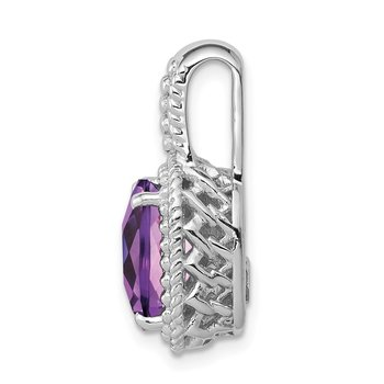 Sterling Silver Rhodium-plated Amethyst Pendant