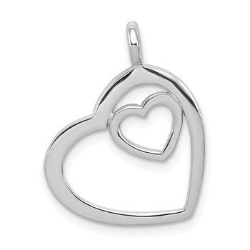 Sterling Silver Rhodium-plated Heart Pendant