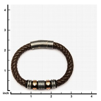 Brown Braided Leather with Rose Gold Plated & Steel Beads Bracelet