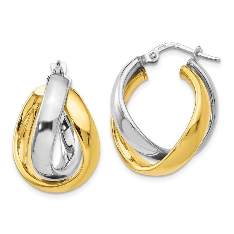 Leslie's Leslie's SS Gold-tone Rhodium Plated Earrings