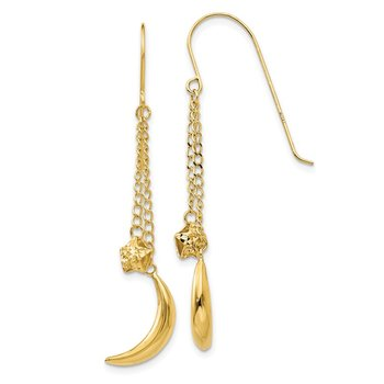 14K Chain Dangle Puffed Moon & Stars Shepherd Hook Earrings