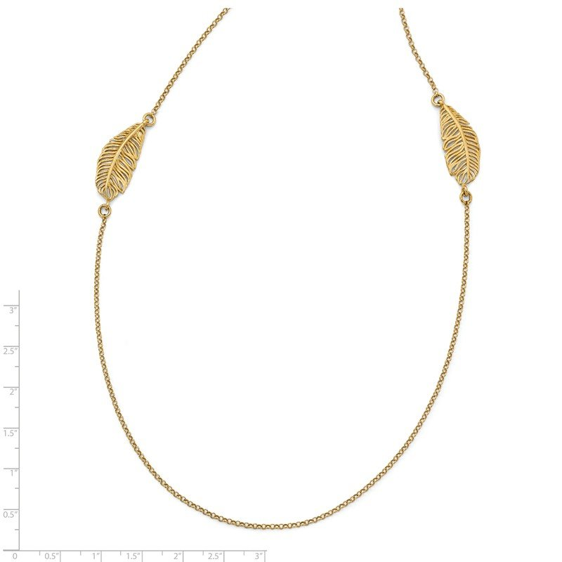 Leslie's Leslie's Sterling Silver Gold-plated Leaf w/1.5in ext. Necklace