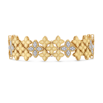 Wide Link Bracelet With Diamonds