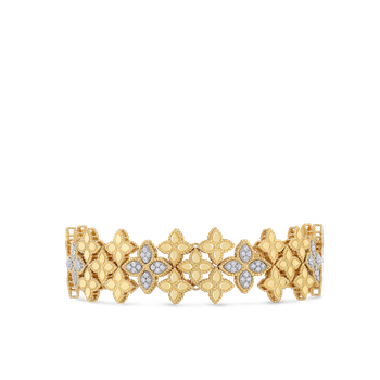 18Kt Gold Wide Link Bracelet With Diamonds