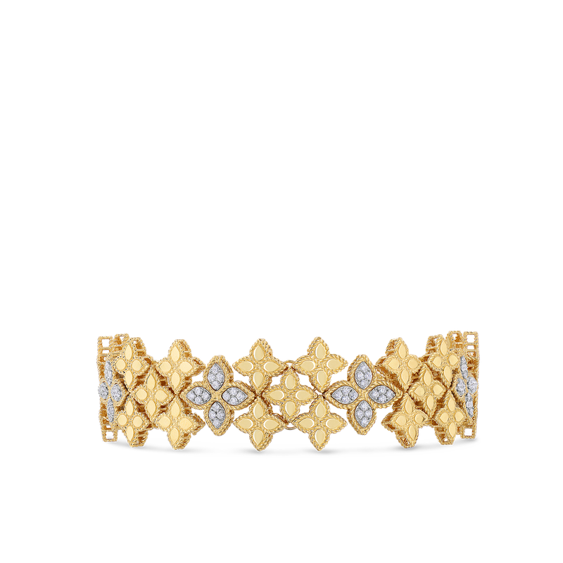 Roberto Coin 18KT GOLD WIDE LINK BRACELET WITH DIAMONDS