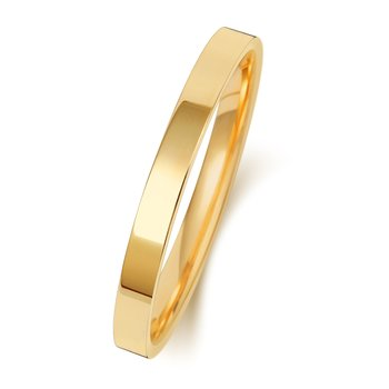 18Ct Yellow Gold 2mm Flat Court Wedding Ring