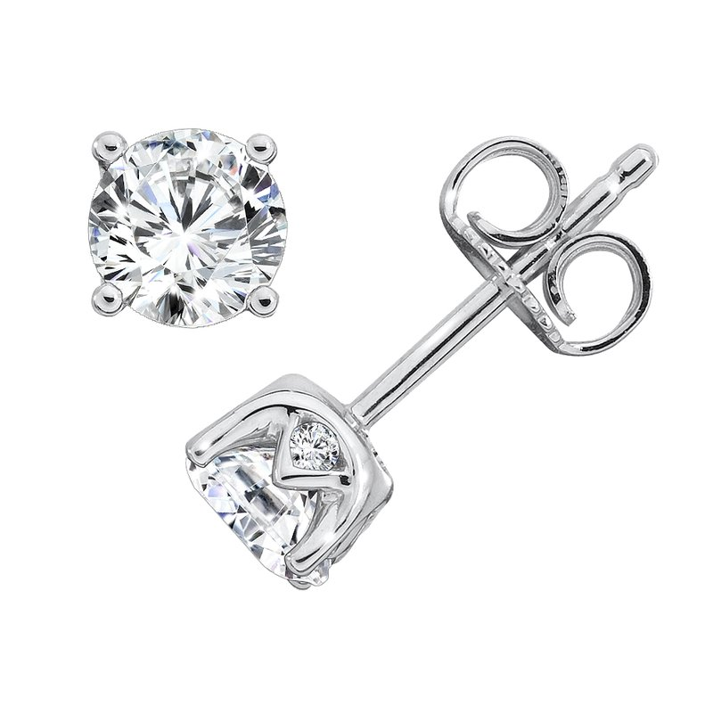 Caro74 Diamond Solitaire Studs in 14K White Gold with Platinum Post