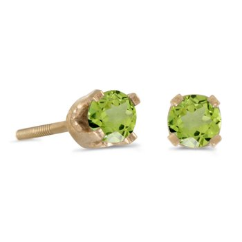 3 mm Petite Round Peridot Screw-back Stud Earrings in 14k Yellow Gold