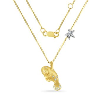 adorable 14K manatee necklace with 24 diamonds 0.11CT 18mm long