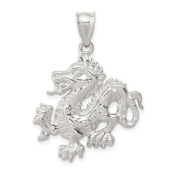 Sterling Silver Polished & Textured Chinese Dragon Pendant