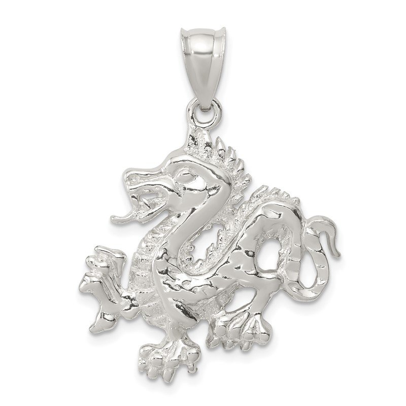 Quality Gold Sterling Silver Polished & Textured Chinese Dragon Pendant