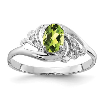 14k White Gold 6x4mm Oval Peridot AA Diamond ring