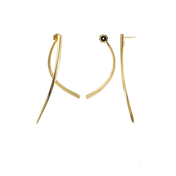 18KT GOLD FRONT & BACK LINE EARRINGS