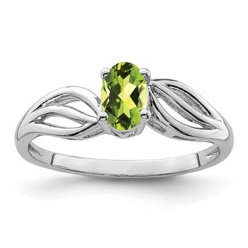 Sterling Silver Rhodium-plated Peridot Ring