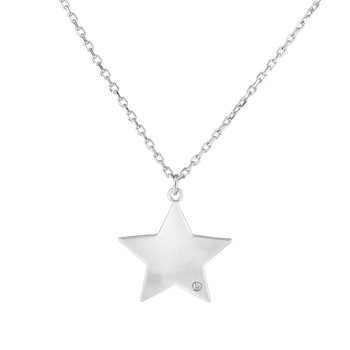 Silver Polished Star Diamond Accent Necklace