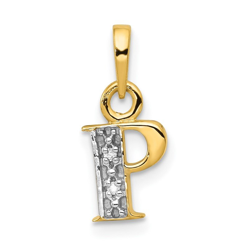 Quality Gold 14KY with Rhodium Diamond Letter P Initial Pendant