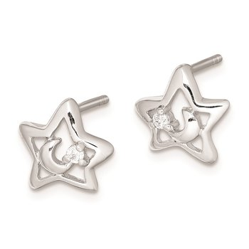 Sterling Silver Rhodium Plated CZ Star & Moon Post Earrings