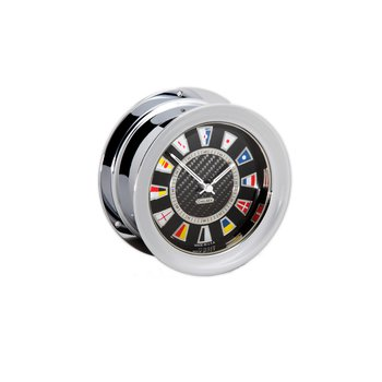 Carbon Fiber Flag Clock, Chrome