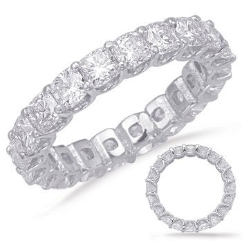 White Gold Cushion Cut Eternity Band