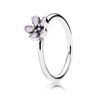 Cherry Blossom Stackable Ring, Pink Enamel