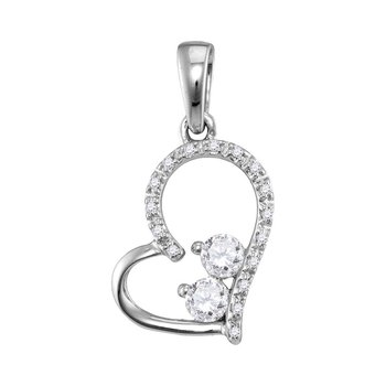 10kt White Gold Womens Round Diamond 2-Stone Heart Love Pendant 1/5 Cttw