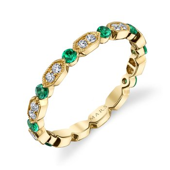 MARS 26182YGEM Stackable Ring, 0.15 Dia, 0.43 Emerald