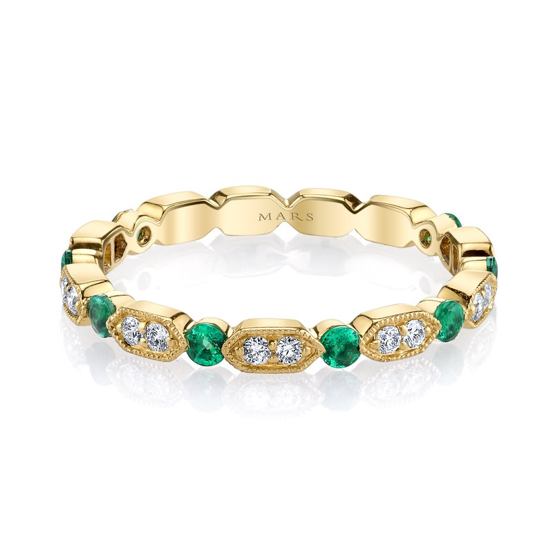 MARS Jewelry MARS 26182YGEM Stackable Ring, 0.15 Dia, 0.43 Emerald