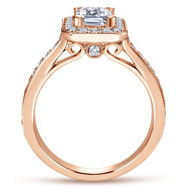 Amavida Vintage 14K Rose Gold Emerald Halo Diamond Engagement Ring