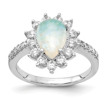 Cheryl M Sterling Silver Rhod-plated CZ & Pear Shaped Created Opal Ring