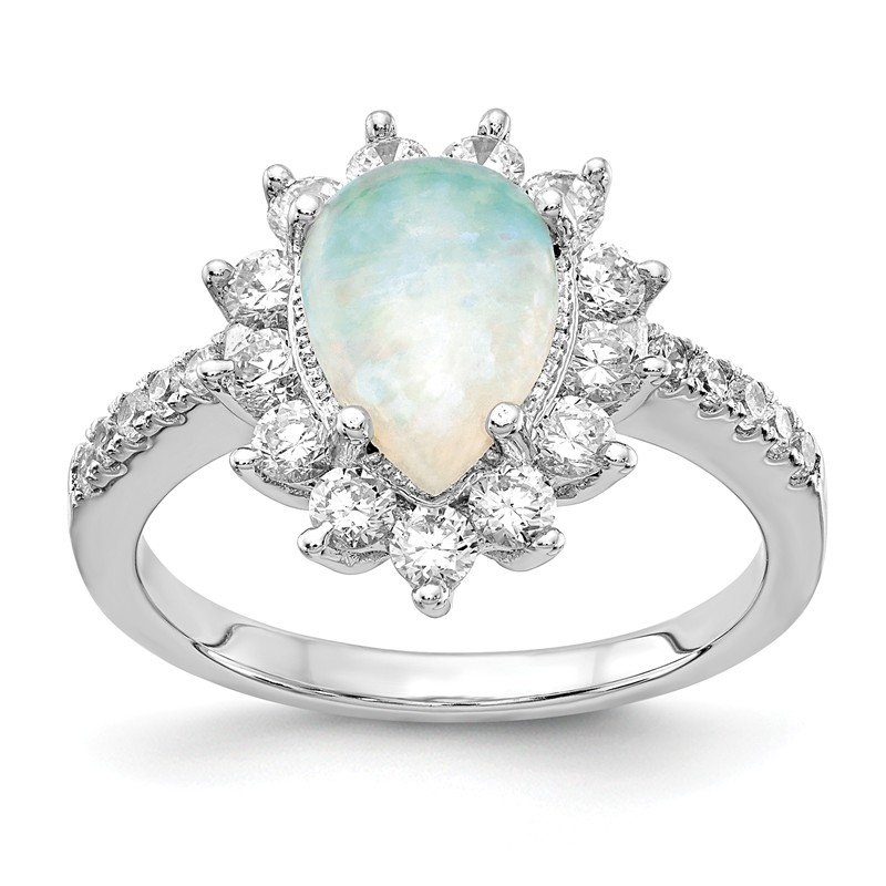JC Sipe Essentials Cheryl M Sterling Silver Rhod-plated CZ & Pear Shaped Created Opal Ring