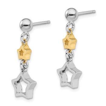 Sterling Silver Rhodium-plated with Yellow Tone Star Dangle Earrings
