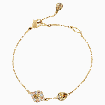 Graceful Bloom Bracelet, Brown, Gold-tone plated