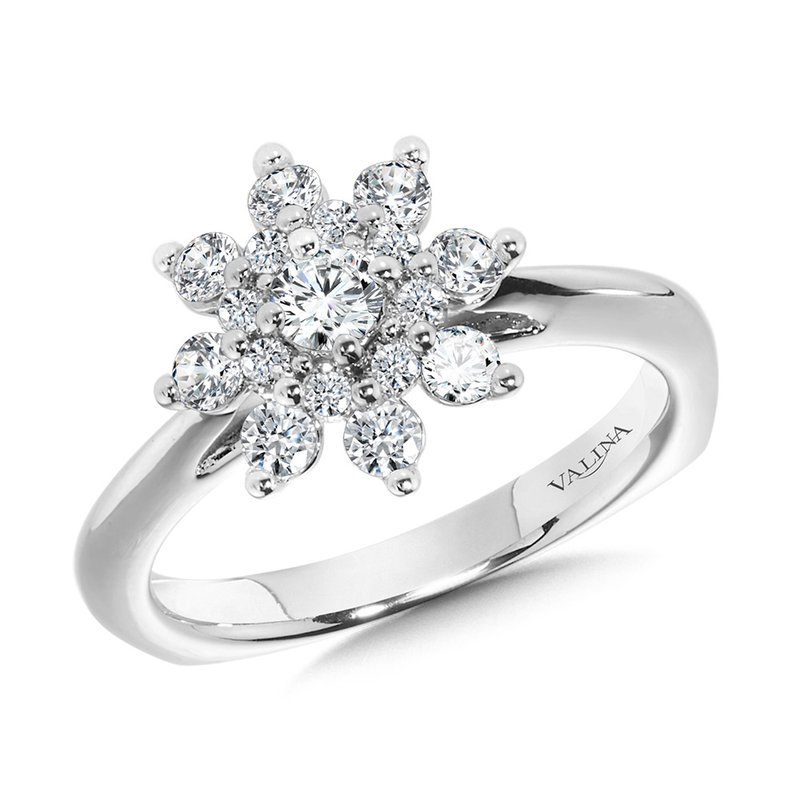 Valina Modern Floral Halo Diamond Engagement Ring